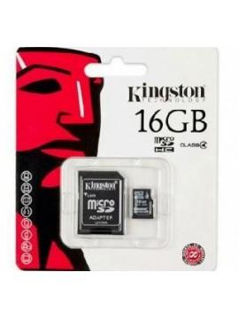 Micro SDHC Kingston 16Gb + Adaptador SD C10