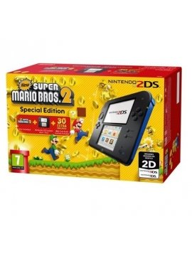 Nintendo 2DS Negra Azul Pack New Super Mario Bros 2