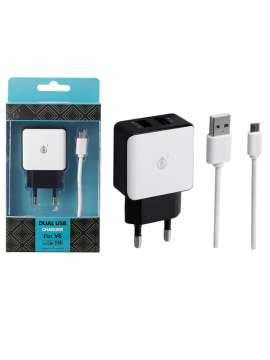 Cargador USB + Cable 5V 2,1A Blanco