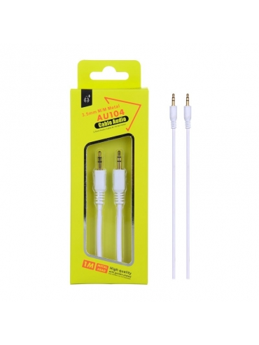 Cable Audio Jack 3,5mm a 3,5mm Blanco 1M