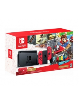 Consola Nintendo Switch Color Rojo Neón + juego Super Mario Odyssey (formato digital)