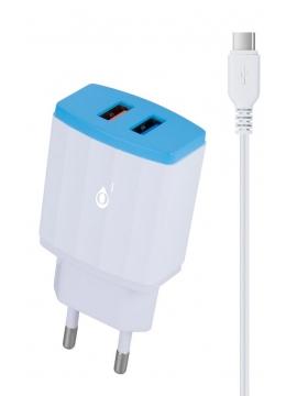 Cargador USB Doble 5V 2,4A Blanco