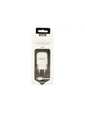 Cargador USB 1 A Con Cable Micro USB Blanco HV-ST804