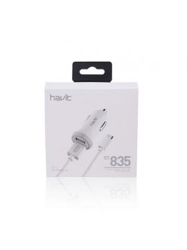 Cargador Coche USB Doble Havit 5V 2,1A + Cable Tipo C