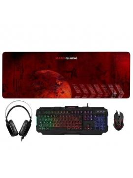 Kit Mars Gaming Combo Gaming Teclado + Raton + Auriculares + Alfombrilla XXL