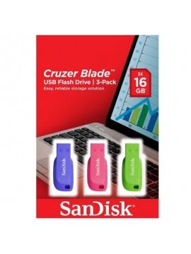 Pendrive Sandisk Cruzer Edge Pack 3 Unidades 16GB
