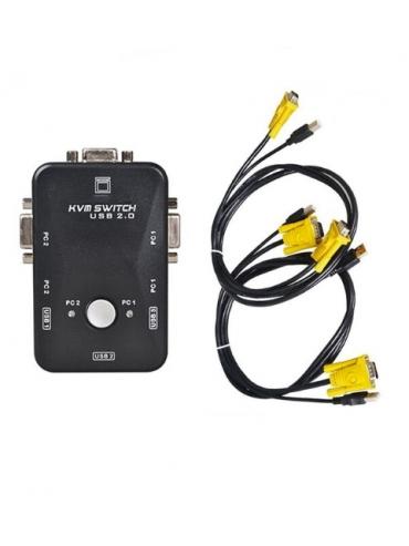 KVM switch 2 PC 1 Monitor 2xUSB 2x VGA 2 Juegos de cables