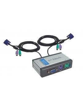 KVM Switch 2 PC 1 Monitor 2xUSB 2x VGA 2 Juegos de cables D-link (Usado)