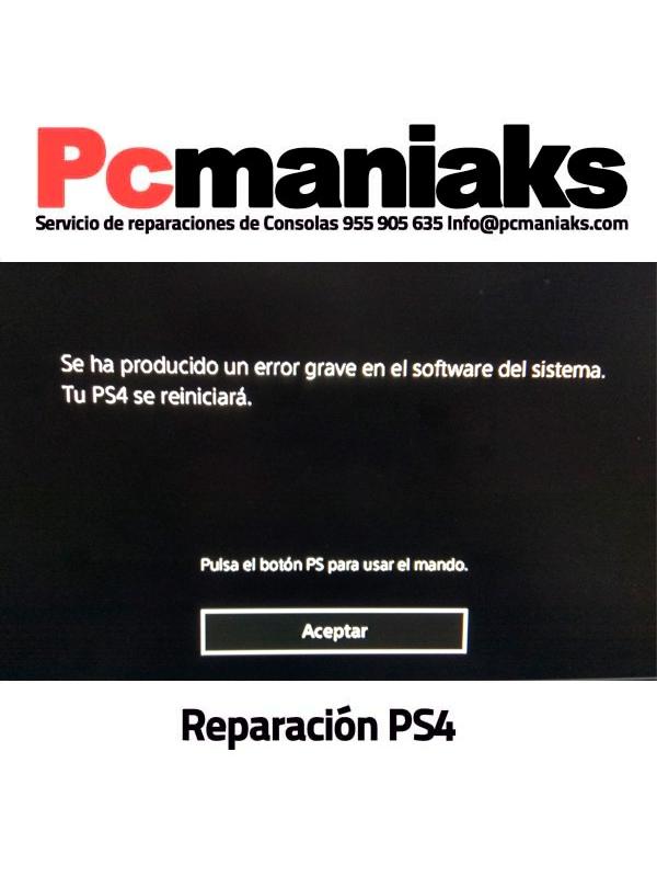 Reparacion error grave en el software del sistema tu ps4
