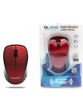 Raton Optico Inalambrico Biwond USB Rojo