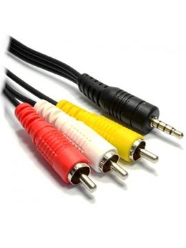 Cable Jack 3,5mm a 3 RCA 1M (Blanco, Rojo, Amarillo)