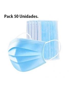 Mascarilla quirúrgica de 3 capas, azul. Caja de 50 unidades