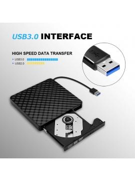 Grabadora Externa CD/DVD Slim Portable USB 3,0 Color Negra