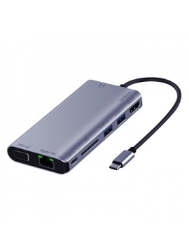 Adaptador USB-C a  HDMI VGA 2xUSB 3,0 Gigabyte Lan PD Lector de Tarjetas