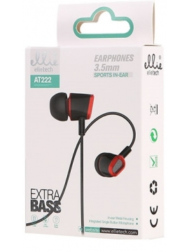 Auriculares Ellie AT222 Extra Bass Negro Rojo