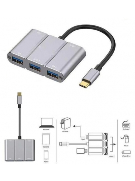 Adaptador OTG USB-C 4 Puertos  HUB (USB3.0*4+USB-C*1) GRIS OTN-9506B OTG