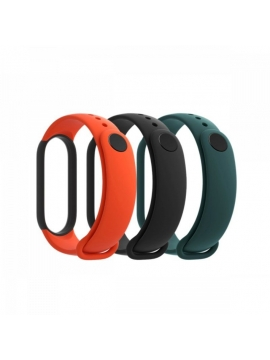 Pack de Correas para Pulsera Xiaomi Mi Smart Band 5 Strap/ 3 unidades/ Negro/ Naranja/ Verde
