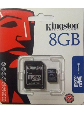 Micro SDHC Kingston 8Gb + Adaptador SD