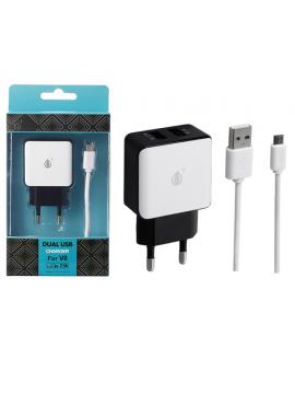 Cargador USB + Cable 5V 2,1A Blanco