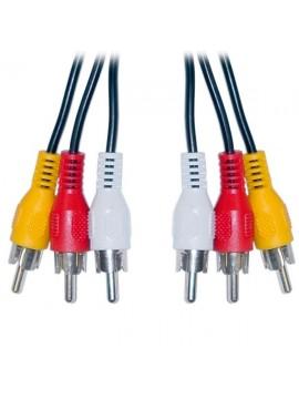 Cable de audio y video. 3 RCA a 3 RCA (Blanco, Rojo, Amarillo)